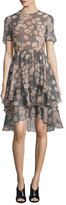 Jason Wu Floral-Print Houndstooth Silk Day Dress, Fawn/Multi