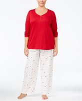 Charter Club Plus Size Solid Henley Top and Printed Pants Pajama Set, Only at Macy's