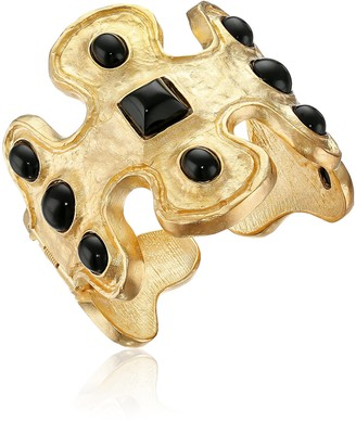 Kenneth Jay Lane Gold-Tone and Black Odd-Shape Cuff Bracelet