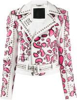 Philipp Plein animal print stud-embellished jacket
