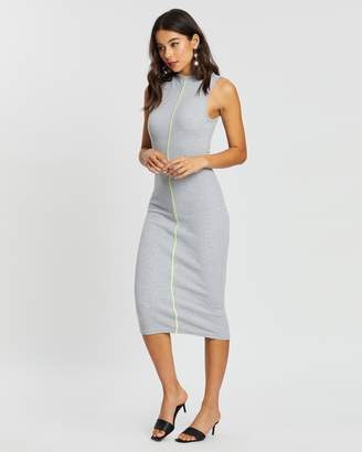 Missguided Ribbed Contrast Piping Midaxi Dress