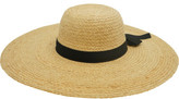 Gregory Ladner Wide Brim Raffia Hat With Gg Bow