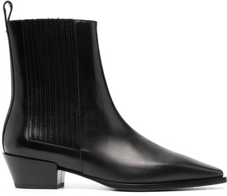 AEYDĒ Square-Toe Leather Ankle Boots