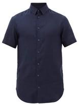 Giorgio Armani Short Sleeve Linen Shirt - Mens - Navy