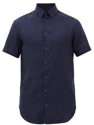 Giorgio Armani Short Sleeve Linen Shirt - Mens - Navy