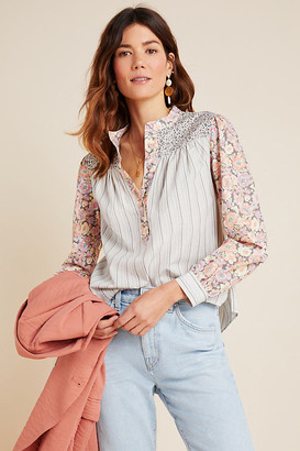 La Vie Rebecca Taylor Nadia Blouse By in Blue Size M