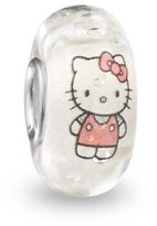 Hello Kitty Everbling Glow in the Dark Cool Murano Glass Bead 925 Sterling Silver Solid Core Charm Fits Pandora Chamilia Biagi Troll Beads Europen Style Bracelets