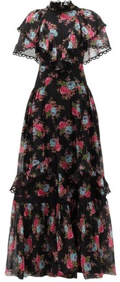 Erdem Mauricia Carrington Rose-print Cotton-blend Gown - Black Multi