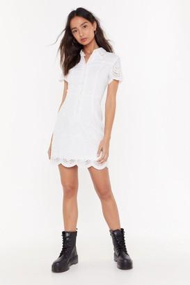 Nasty Gal Womens Button Down Broderie Mini Dress - White - 14