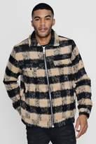 TYGA Brushed Check Wool Look Trucker Jacket