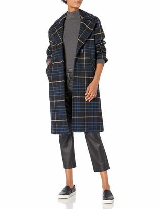 Rachel Roy Women's Plaid Notch Collar Wool Coat