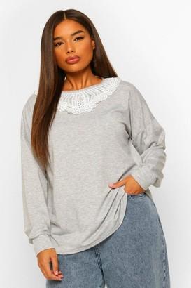 boohoo Plus Oversized Sweatshirt With Frill Collar
