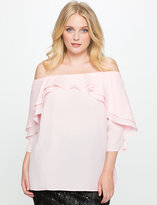 ELOQUII Plus Size Studio Off the Shoulder Layered Ruffle Top