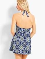 Talbots Tile-Print Ruffle-Halter Swim Dress