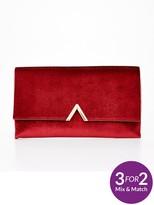 Very Metal V Bar Sparkle Velvet Clutch Bag