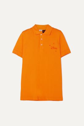 Loewe Paula's Ibiza Embroidered Cotton-piqué Polo Shirt - Orange