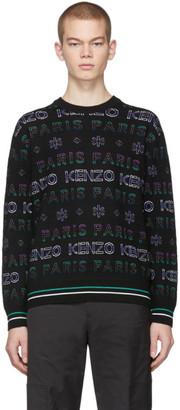 Kenzo Black and Purple Limited Edition Holiday Knit Sweatshirt