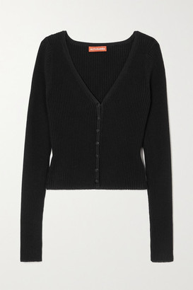 Altuzarra Eva Ribbed Stretch-knit Cardigan - Black