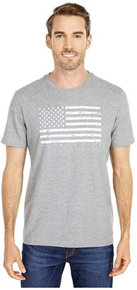Life is Good Classic Flag USA Crusher Tee (Heather Gray) Men's Clothing