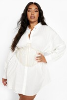Thumbnail for your product : boohoo Plus Structured Cup Detail Mesh Corset Belt