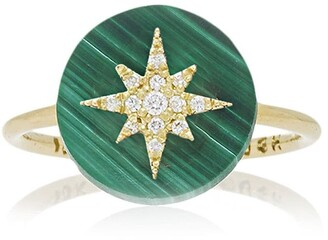 Noush 14kt yellow gold Co-exist North Star diamond and malachite ring