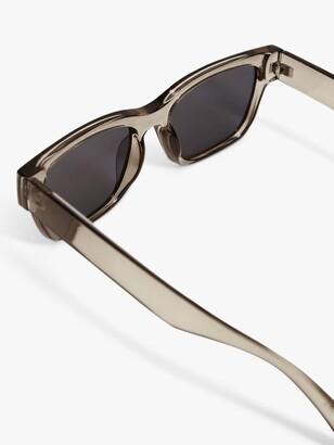 MANGO Nadia Square Frame Sunglasses, Pewter/Grey