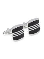 Oxford Cufflinks Silver/Black Stripe