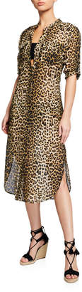 Veronica Beard Makua Leopard-Print Coverup Dress