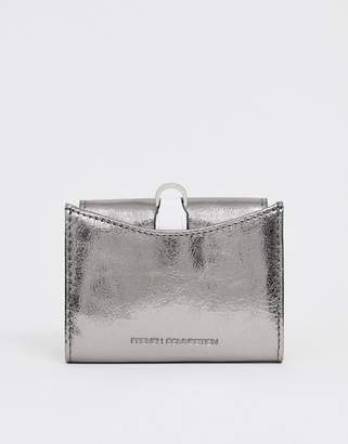 French Connection Demi Accordian metallic wallet-Silver