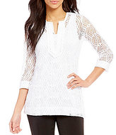 Multiples 3/4 Sleeve Notch Neck Solid Tunic