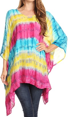 Sakkas 1745 - Adalwin Desert Sun Lightweight Circle Ponch Tunic Top Blouse W/Embroidery - Turquoise/Yellow - OS