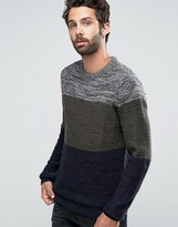 Pull&bear Colour Block Jumper In Khaki & Navy