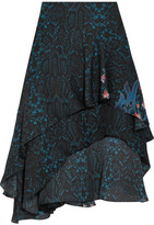 Preen by Thornton Bregazzi Ambrosse Asymmetric Printed Silk-chiffon Skirt - Midnight blue