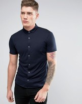 Armani Jeans Jersey Shirt Short Sleeve Slim Fit Stretch in Navy
