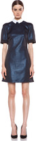 Victoria Beckham Victoria Raglan Collar Jacquard Tunic Dress in Blue & White