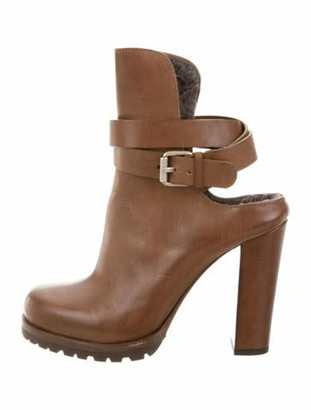 Brunello Cucinelli Cutout Ankle Boots Brown