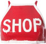Moschino shop sequinned crop top - women - Rayon/Other fibres/Spandex/Elastane - 40