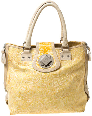 Etro Yellow Paisley Embossed Patent Leather Tote