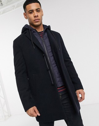 Esprit wool overcoat with removable hooded insert-Navy