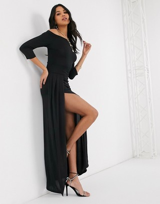AX Paris slinky long sleeve maxi dress in black