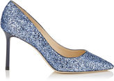 Jimmy Choo ROMY 85 Cobalt Shadow Coarse Glitter Fabric Pointy Toe Pumps