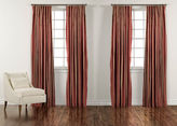 "Ethan Allen 90"" Chinois Red and Gold Taffeta Stripe Inverted Pleat Panel"