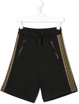 Fendi Kids FF logo stripe short
