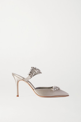 Manolo Blahnik Lurum Crystal-embellished Satin Mules - Light gray