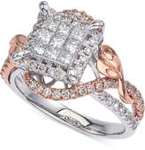 Macy's Diamond Two-Tone Princess Cluster Twist Engagement Ring (7/8 ct. t.w.) in 14k White and Rose Gold