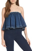 J.o.a. Women's Ruffle Strapless Denim Top