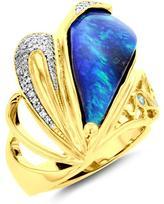 La Vita Vital 9 2/5 CT TW Australian Boulder Opal and Diamond 14K Gold Ring with Paraiba Tourmaline Accents