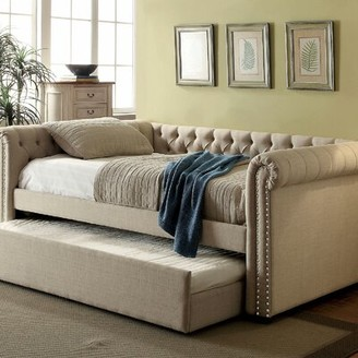 BEIGE Leona Daybed A&J Homes Studio Color: Beige, Size: Queen