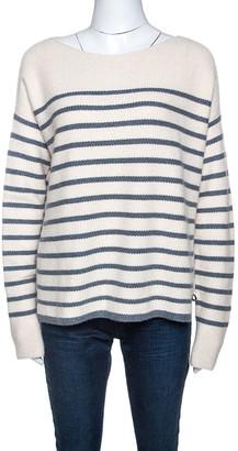 Loro Piana Off White Striped Baby Cashmere Waffle Knit Sweater M