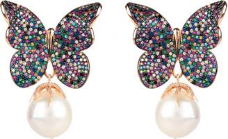 Rosegold Latelita Baroque Pearl Multi Coloured Butterfly Earrings